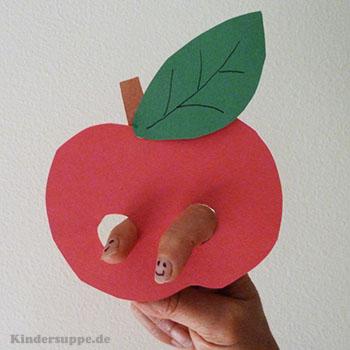 Apfel Fingerpuppe und Fingerspiel