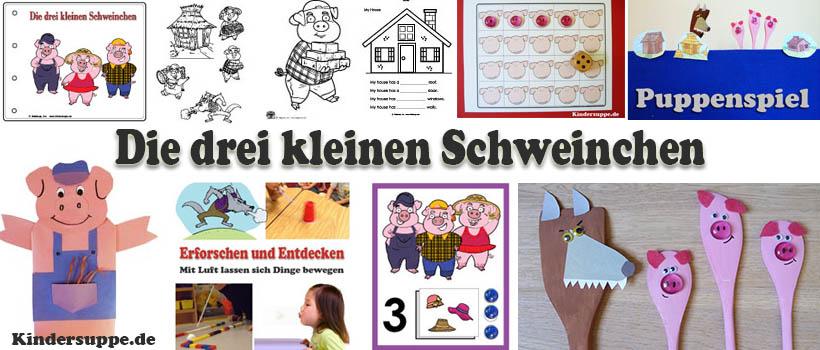 Drei kleinen Schweinchen basteln und Spiel-Ideen für Kindergarten und Kita