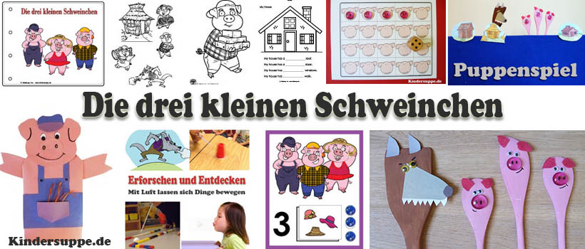 projekt die drei kleinen schweinchen ideen f r kindergarten und kita kindersuppe abo. Black Bedroom Furniture Sets. Home Design Ideas