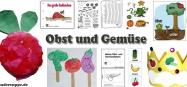 Ernte, Obst und Gemüse Basteln und Spielen Ideen für Kindergarten und Kita